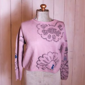 Sweaters - Mauve Knit Floral Sweater